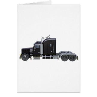 Cartão Do preto caminhão semi com luzes completas na