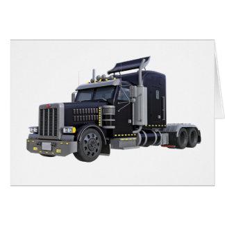 Cartão Do preto caminhão semi com luzes sobre em uns três