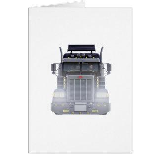 Cartão Do preto caminhão semi com luzes sobre na vista