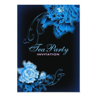 Cartão do primavera azul da peônia do vintage tea party