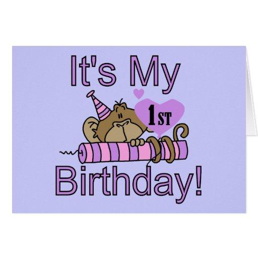 Cartão do primeiro aniversario do macaco da menina