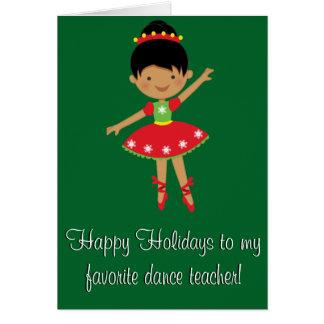 Cartão do professor da dança boas festas