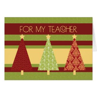 Cartão do professor das árvores de Natal boas