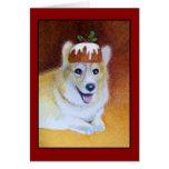 Cartão do pudim de ameixa do Corgi do Natal