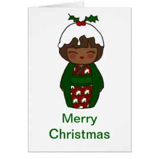 Cartão do pudim do Natal de Kokeshi