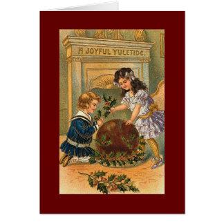 Cartão do pudim do natal vintage