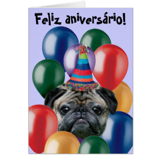 Cartão do pug do aniversário de Feliz Aniversário