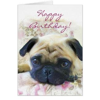 Cartão do Pug do feliz aniversario