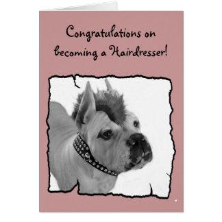 Cartão do pugilista do cabeleireiro dos parabéns
