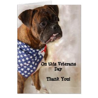 Cartão do pugilista do dia de veteranos