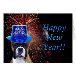 Cartão do pugilista do feliz ano novo