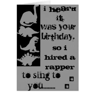Cartão do rapper do aniversário do Velociraptor do