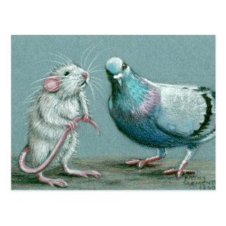 Cartão do rato e do pombo