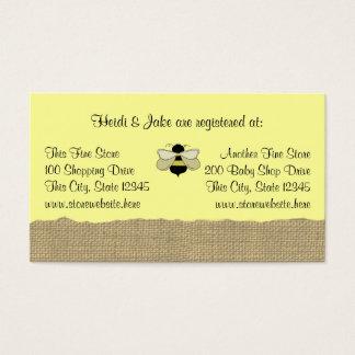 Cartão do registro do bebê da abelha e da