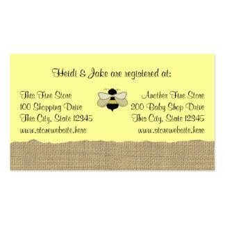 Cartão do registro do bebê da abelha e da serapilh cartoes de visita