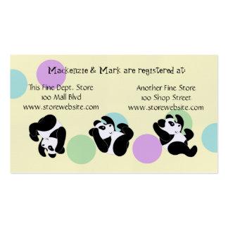 Cartão do registro do chá de fraldas cartão de visita