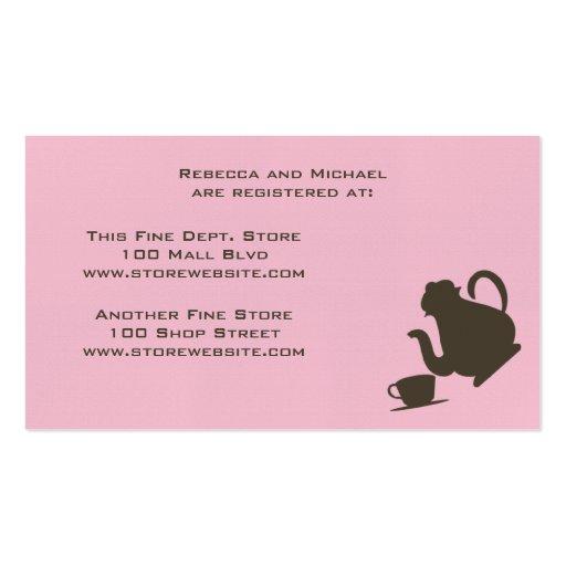 Cartão do registro do chá de panela cartões de visitas