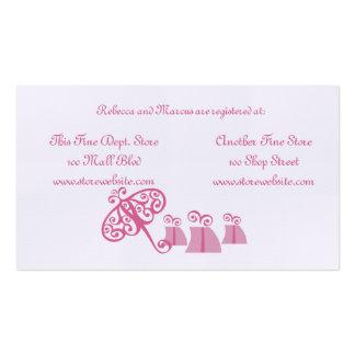 Cartão do registro do chá de panela cartão de visita