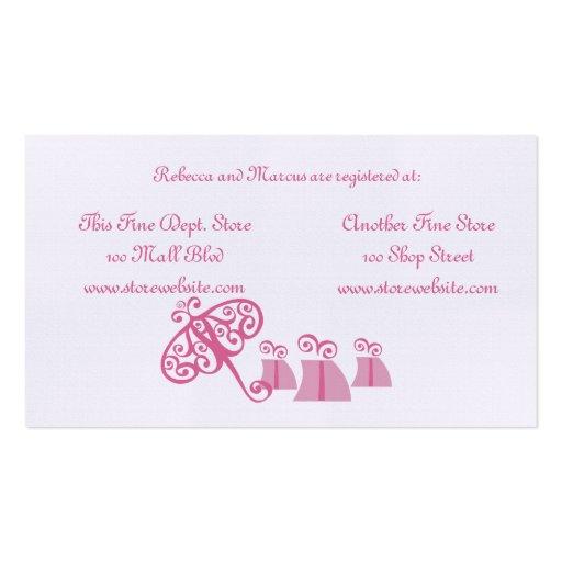 Cartão do registro do chá de panela modelo cartão de visita