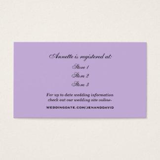 Cartão do registro do chá de panela da lavanda