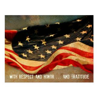Cartão do respeito, da honra e do dia de veteranos