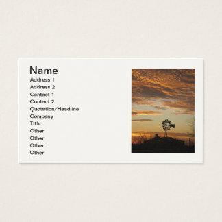 Cartão do retrato do por do sol do moinho de vento