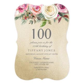 Cartão Do rosa branco do rosa da folha de ouro