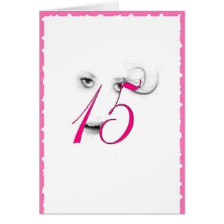 Cartão do rosa da menina do adolescente de 15 anos
