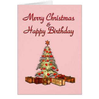 Cartão do rosa do aniversário do Natal