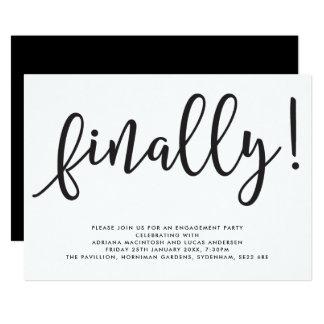 Cartão Do roteiro festa de noivado monocromática