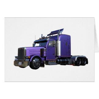 Cartão Do roxo caminhão metálico semi na opinião dos três