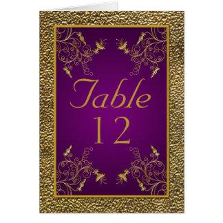 Cartão do roxo real e da mesa do ouro