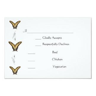 Cartão do rsvp das borboletas e dos redemoinhos convite 8.89 x 12.7cm