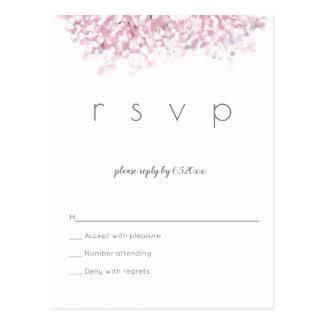 Cartão do rsvp do casamento da flor de cerejeira