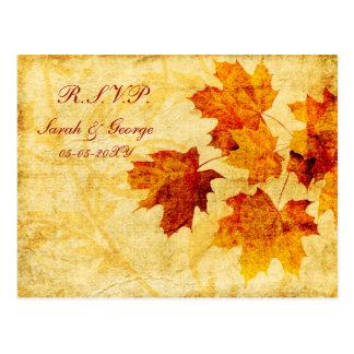 cartão do rsvp do casamento no inverno do marrom