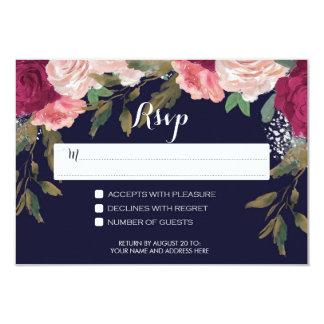 cartão do rsvp do marinho que wedding Borgonha Convite 8.89 X 12.7cm