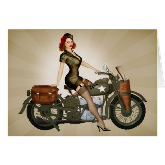 Cartão do sargento Davidson Motocicleta Pinup
