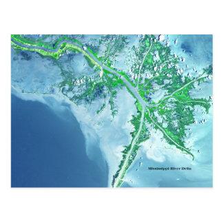 Cartão do satélite do delta do rio Mississípi