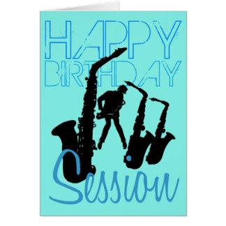 Cartão do saxofone do jazz da sessão do feliz