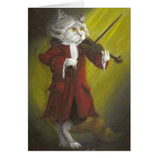 Cartão do século XIX do gato do violinista