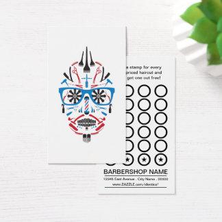cartão do selo do crânio do açúcar do barbeiro