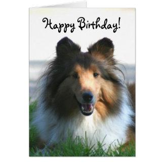 Cartão do Sheepdog de Shetland do feliz