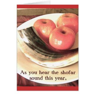 Cartão do Shofar e das maçãs