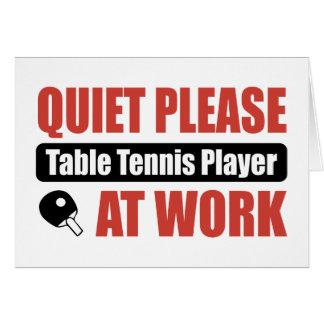 Cartão Do silêncio jogador de ténis de mesa por favor no