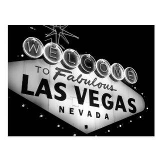 Cartão do sinal B&W de Vegas Cartão Postal