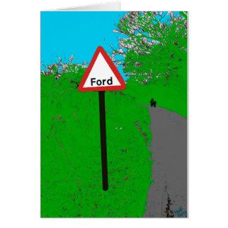 Cartão do sinal de estrada de Ford