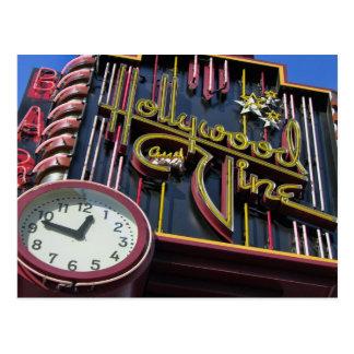 Cartão do sinal de Hollywood e de videira