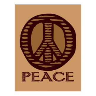 Cartão do sinal de paz do Woodcut do vintage