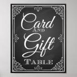 Cartão do sinal do casamento e mesa do presente