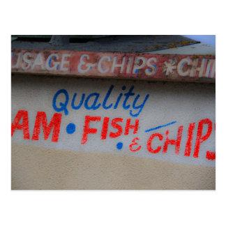 Cartão do sinal do peixe com batatas fritas